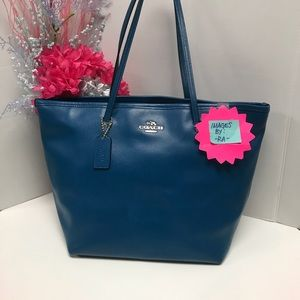 Coach City Zip 34103 Blue Leather Tote Bag Purse